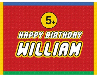 X-Large Building Block Birthday Name Poster / Sign - 3 Color Options / Printable / Party Decoration / Multiple Sizes