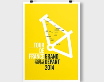 Tour De France, Grand Depart, Stages 1-2 Yorkshire. A2 poster. Theme; Yorkshire in Bike Frame.