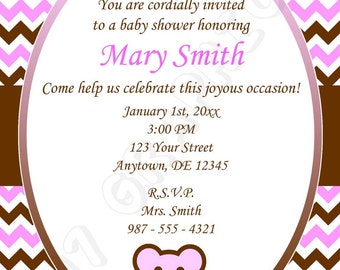 Baby shower invitation (Pink) - Printable