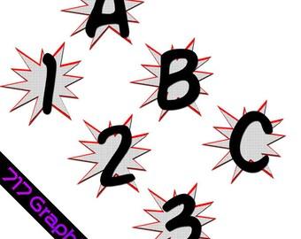 Superhero Alphabet & Numbers Clipart (Black)