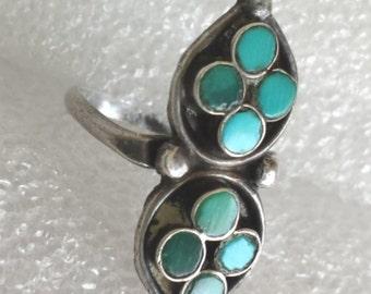 Vintage estatesouthwest turquoise sterling silver band ringsz 5.5