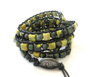 CatMar Beaded Yellow Jasper Cubes and Rhyolite Wrist Wrap Bracelet with Black Greek Leather Cord and Antique Silver Button