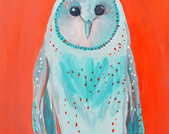 Orange and Teal Owl Fine Art Print, for him, for her