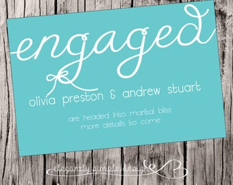 Simple, Modern Engagement Announcement  Digital Download, completely customizable