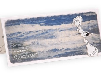 Card birthday, greeting card, birthday card maritim of maritime map, sea, Seagull, birthday card, swell, 3D map