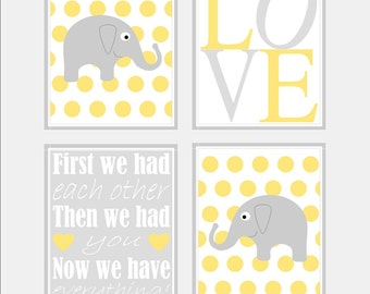 Yellow Grey Nursery Art - Polka Dot Elephant Nursery Prints - Baby Girls Nursery Wall Art. First We Had Quote Nursery Art Print - four 8x10