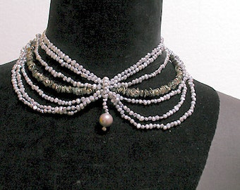 Cafe Society Collection Necklace:   Soft Violet and Green Pearls