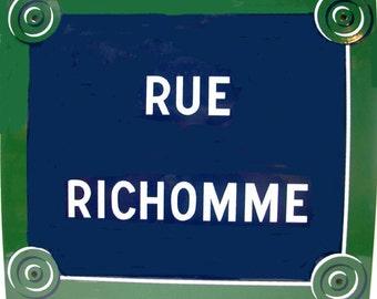 "Paris Street Sign ""Rue Richomme"" Enamel"
