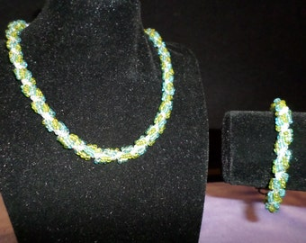 Woven Seed Bead Necklace and Bracelet Set