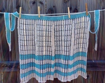 Vintage 1970's turquoise and white hand crocheted half apron