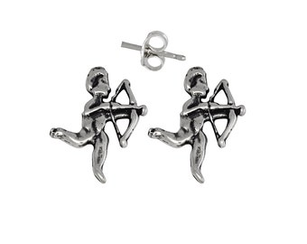 Sterling Silver .925 Angel Shooting Arrow Pin Earring   Made in USA