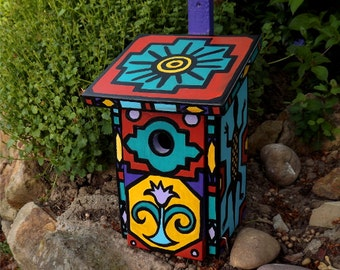 Hand-painted African - birdhouse for the birds