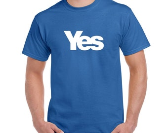Men' T shirt Vote Yes for Scotland Scottish Independence in Royal Blue or White