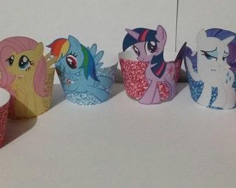 My Little Pony Set of 24 cupcake wrappers ( Twilight Sparkle, Pinkie Pie, Rainbow Dash, Applejack, Fluttershy, & Rarity)