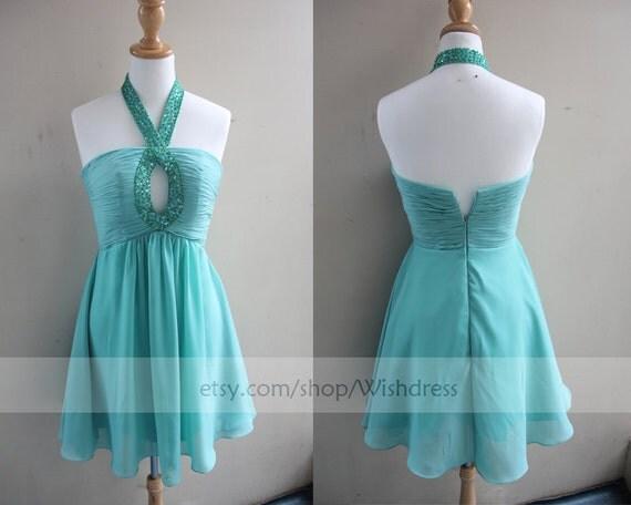 Handmade Sequins Halter Keyhole Front Sexy Short Prom Dress/