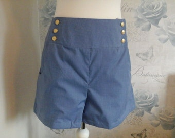 blue sailor style shorts high waisted ladies size large