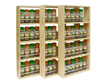 Spice Rack Contemporary Modern Style, 4 Shelves, Freestanding or Wall Mounted Kitchen Storage Made from Solid Pine Wood 59cm Tall x 7cm Deep