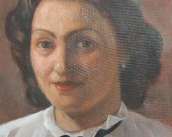 Antique oil painting woman portrait