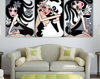TRIPTYCH - Large Abstract Art -- Original Modern Pop Art NO 17