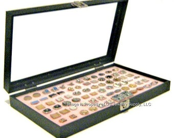 key lock locking glass top lid 36 pink cufflink cufflinks showcase jewelry display case