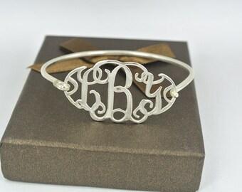 1.5 Inch Silver Monogram Bracelet, Monogram Bangle, Name Bracelet,Personalized Bangle,Initial Monogram Bracelet, Bridesmaid Gift B002