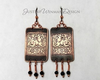 Copper Earrings Etched with Angry Dragon Motif, Fantasy Creature, Mythical, Medieval, Pierced