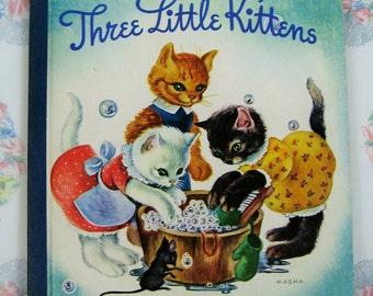 Three Lttle Kittens Original Hardcover Blue Binding 1942