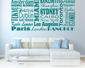City Names moderd quote Wall Art Sticker Decal Transfer