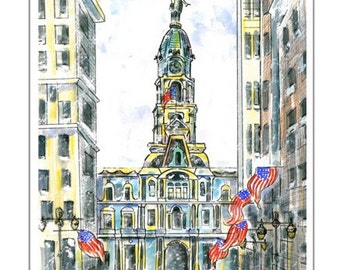 Philadelphia City Hall.  Matted Art Print of Original Watercolor/ink Painting.