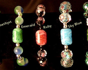Hand Crafted Glass Cremation Bracelet