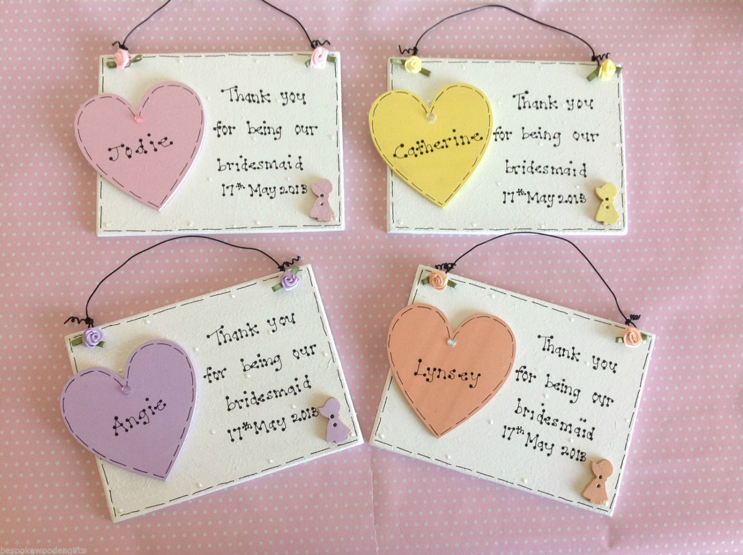 Personalised Thank You Wedding Gifts : Personlised Handmade Bespoke Wedding Favours For Bridesmaid