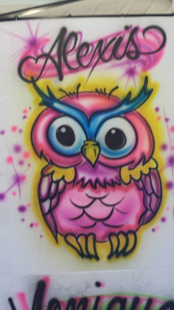Custom airbrush owl t shirt freehand not stencil owl t for Custom made airbrushed shirts