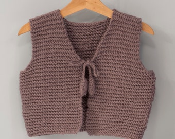 Knitted  Woolen Vest Grey for Girls