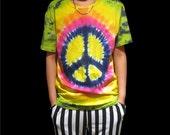 Handmade Tie Dye Anti-War Sign Pattern T-Shirt 61714