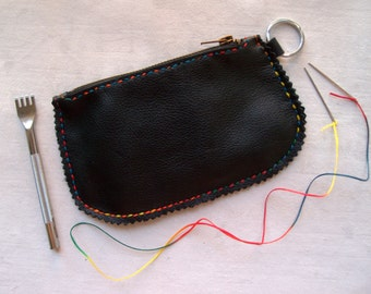 Leather pouch, leather coin wallet, zipper case leather