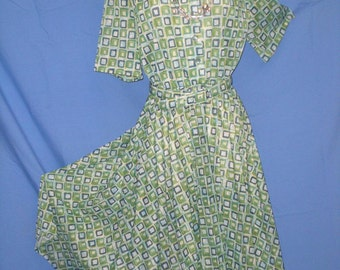Patterned Green Womens Casual Dress