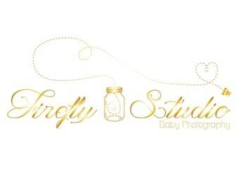 Premade photography logo, design photography watermark, golden firefly