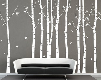 White Tree wall decal 9 birch trees decals forest wall decals winter tree wall decal nature wall stickers baby nursery wall sticker