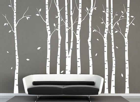 Arbre decal bouleau 9 arbres muraux d co murale par birdyfish for Collant mural francais