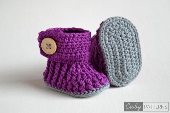 CROCHET PATTERN - Violet Drops - Crochet Baby Booties - Crochet Baby Shoes - Instant Download