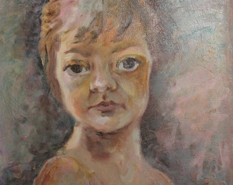 1987 child portrait oil painting signed