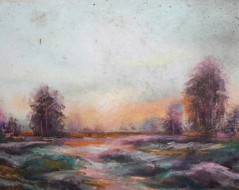 Landscape vintage oil painting signed