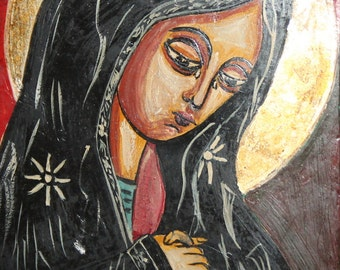 Virgin Mary Hand Painted Religious Icon