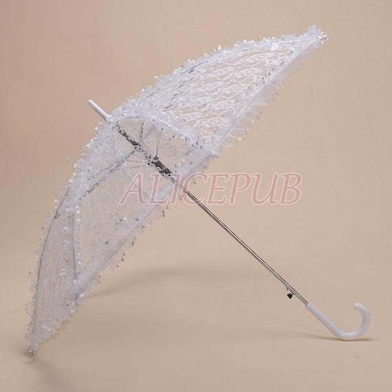 Wedding Umbrella Parasol White Lace Parasol Bridal By ALICEPUB