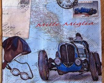 Paper napkin for mixed media, collage, scrapbook, decoupage x 1 Mille Miglia