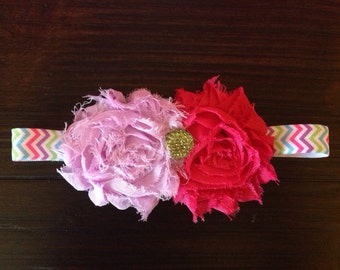 Shabby rosette bright chevron headband - Summer Fun