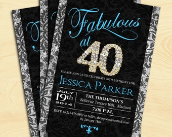 40th Birthday Party Invitation / For Women / 30th / 50th / 60th / Any Age / Blue Black Silver / Digital Printable Invitation