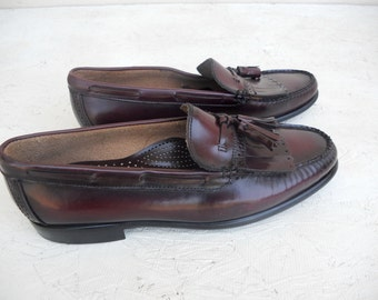 Vintage Men's Cordovan Bass Fringe Loafer Dress Shoes 11 1/2 D FREE SHIPPING
