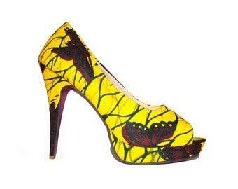 Yellow butterfly ankara open toe pumps with brown and dark green accents.