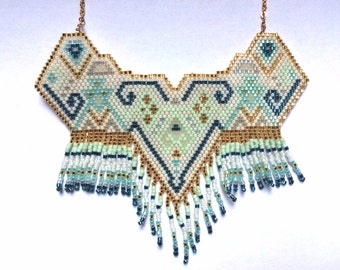 Handmade necklace with beads blue, mint green and gold